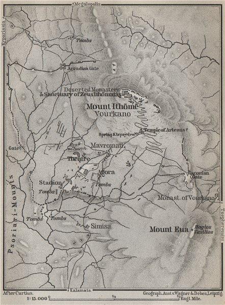 Associate Product MOUNTS ITHOME & MOUNT EVA & environs. Vourkano Eua. Messenia, Greece 1909 map
