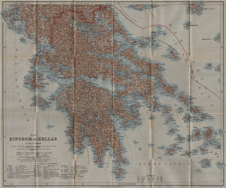 Associate Product THE KINGDOM OF HELLAS / GREECE before incorporation of Macedonia 1909 old map