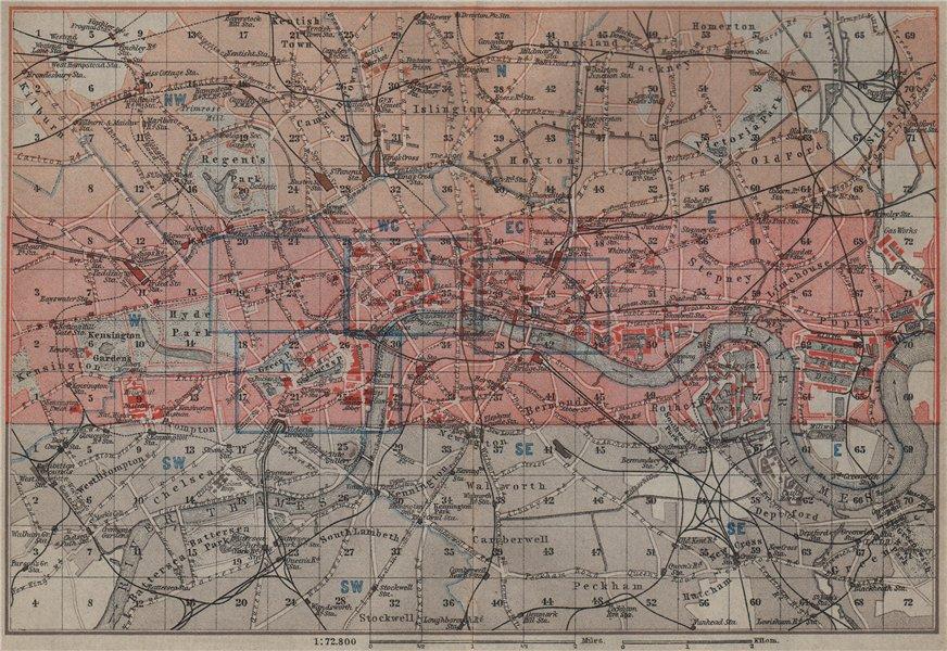 Associate Product LONDON. Westminster Camden City Southwark Tower Hamlets Islington 1905 old map