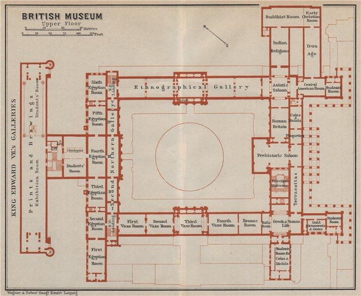 Associate Product BRITISH MUSEUM FIRST FLOOR floor plan. Bloomsbury, London. BAEDEKER 1930 map