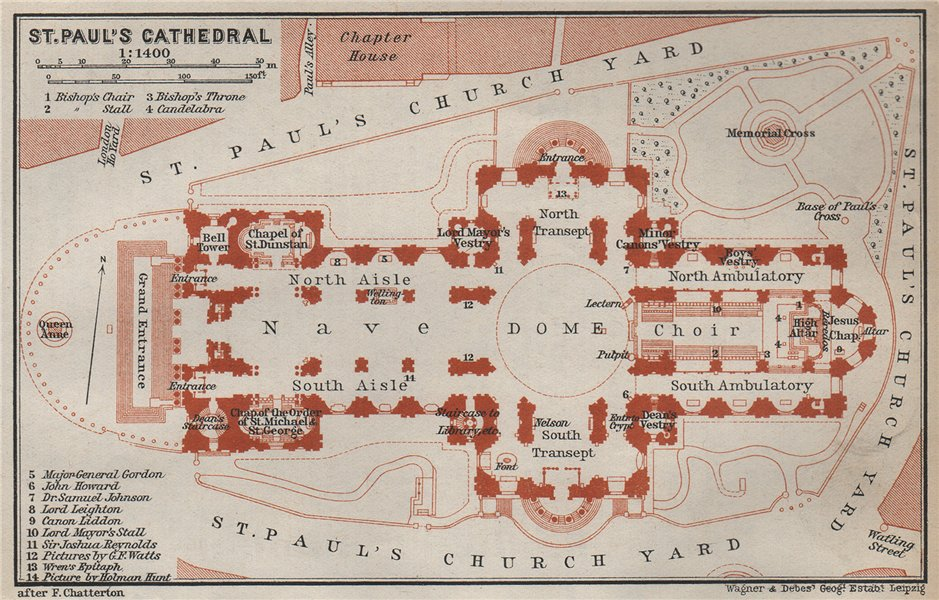 Associate Product ST. PAUL'S CATHEDRAL ground plan. London. BAEDEKER 1930 old vintage map chart