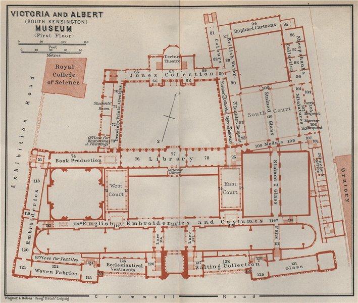 Associate Product VICTORIA & ALBERT MUSEUM first floor plan. South Kensington, London 1930 map