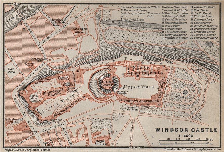 Associate Product WINDSOR CASTLE ground plan. Berkshire. BAEDEKER 1930 old vintage map chart