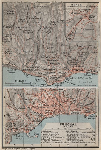 Associate Product FUNCHAL town city plan & environs. Inset Monte. Madeira, Portugal mapa 1911