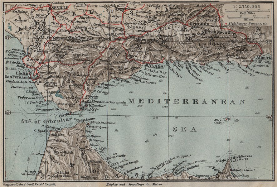 Associate Product STRAIT OF GIBRALTAR. Andalusia Ceuta Cadiz Pillars of Hercules Spain 1911 map