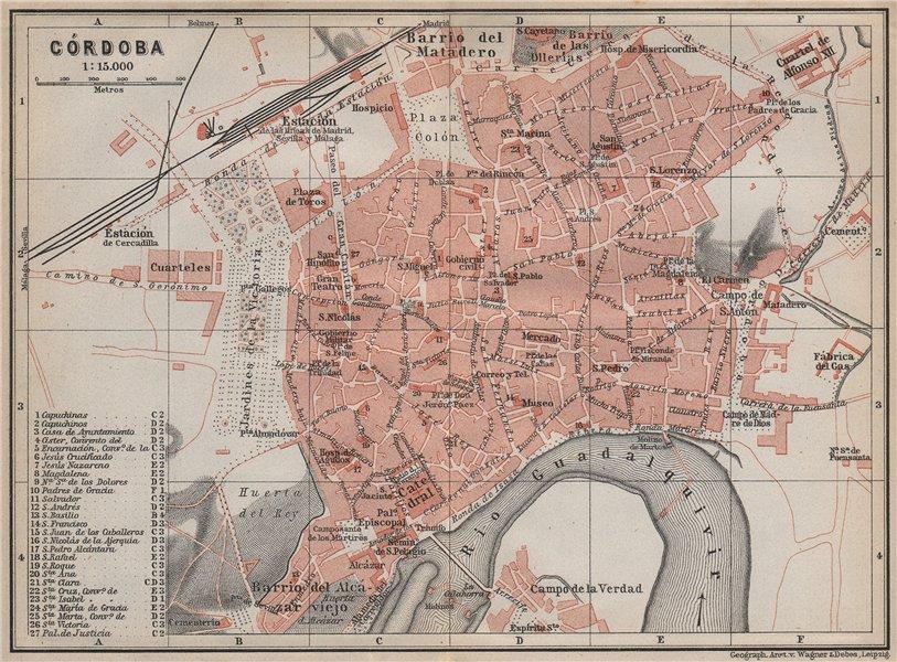 Associate Product CORDOVA CÓRDOBA CORDOBA town city ciudad plan. Spain España mapa 1911 old