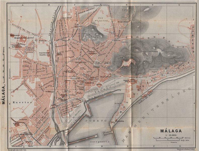 Associate Product MALAGA MÁLAGA town city ciudad plan & environs. Spain España mapa 1911 old