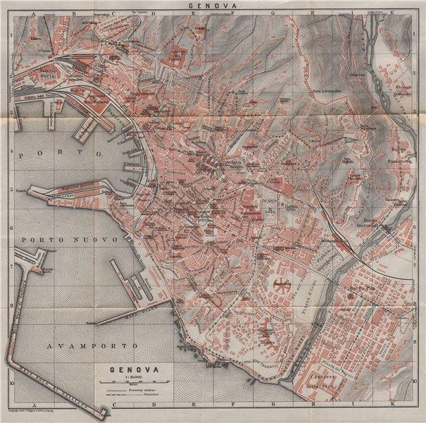 Associate Product GENOVA GENOA town city plan piano urbanistico. Gênes. Italy mappa 1911 old