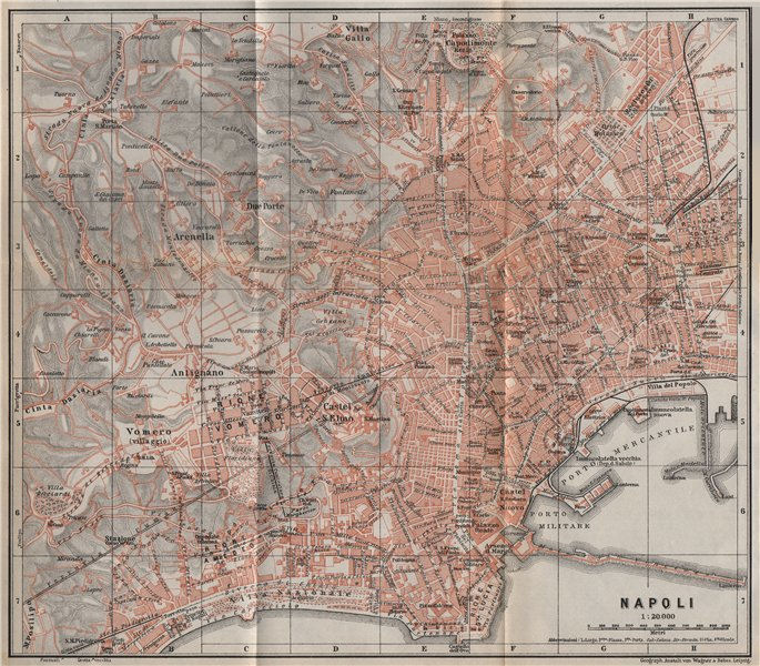 Associate Product NAPOLI NAPLES antique town city plan piano urbanistico. Italy mappa 1911