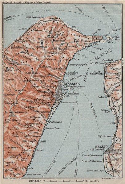 Associate Product STRAIT OF/Stretto di MESSINA. Reggio di Calabria. Italy Sicily Sicilia 1911 map