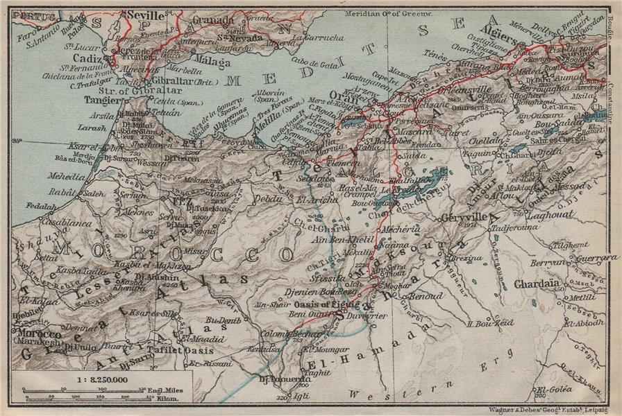 Associate Product MOROCCO AND ALGERIA. Strait of Gibraltar Algiers Atlas mountains carte 1911 map