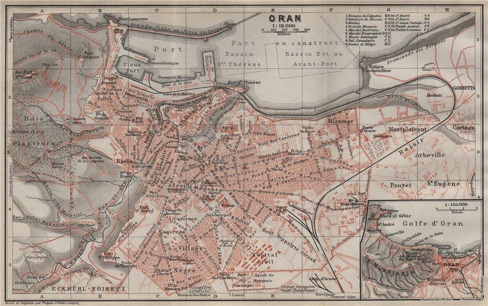 Associate Product ORAN antique town city plan & environs. Algeria carte. BAEDEKER 1911 old map
