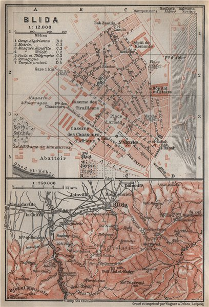 Associate Product BLIDA antique town city plan & environs. Algeria carte. BAEDEKER 1911 old map