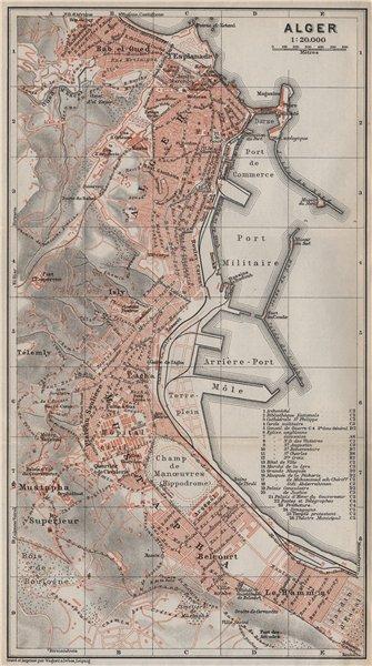 Associate Product ALGIERS / ALGER antique town city plan. Algeria carte. BAEDEKER 1911 old map