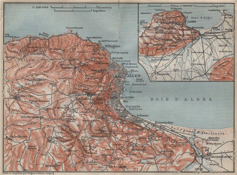 Associate Product ALGIERS / ALGER environs. Bouzareah Kouba Bologhine/St Eugene Algeria 1911 map