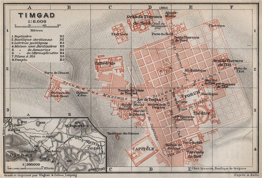 Associate Product TIMGAD antique town city plan & environs. Lambaesis. Algeria carte 1911 map