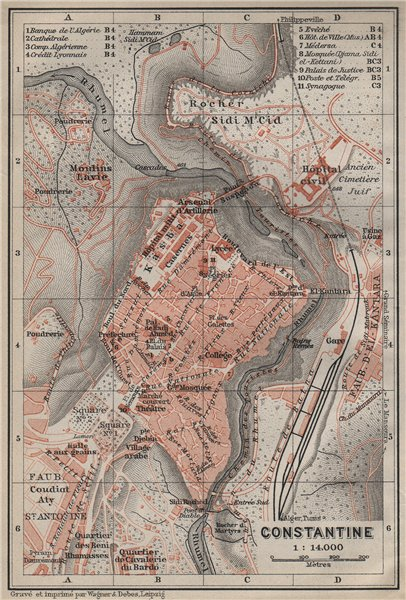 Associate Product CONSTANTINE town city plan. Qasentina  Kasantina. Algeria carte 1911 old map