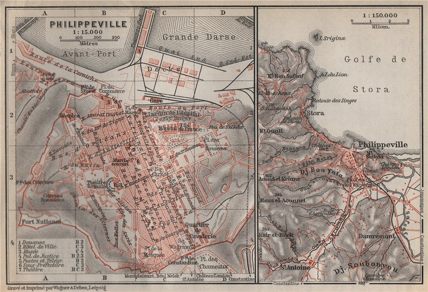 Associate Product PHILIPPEVILLE / SKIKDA town city plan & environs. Algeria carte 1911 old map