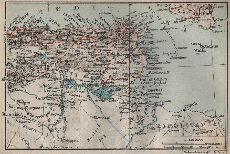 Associate Product ALGERIA AND TUNISIA . Algerie & Tunisie carte. BAEDEKER 1911 old antique map