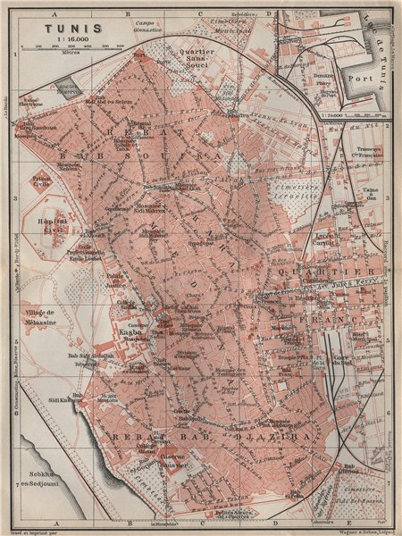 Associate Product TUNIS antique town city plan. Tunisia carte. BAEDEKER 1911 old map