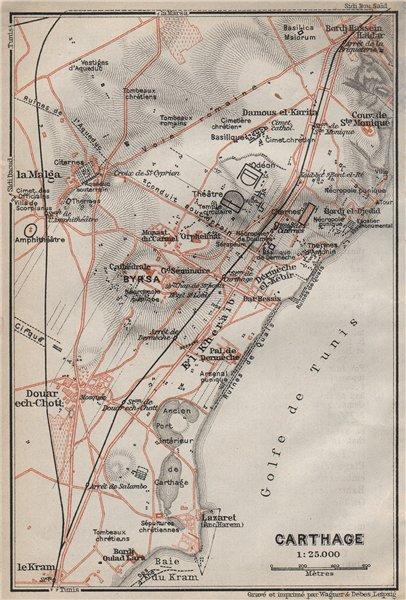Associate Product CARTHAGE ground plan. Ancient Carthage ruins. Tunisia carte. BAEDEKER 1911 map
