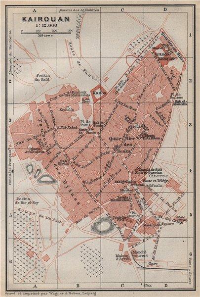 Associate Product KAIROUAN (Kirwan / al-Qayrawan) antique town city plan. Tunisia carte 1911 map