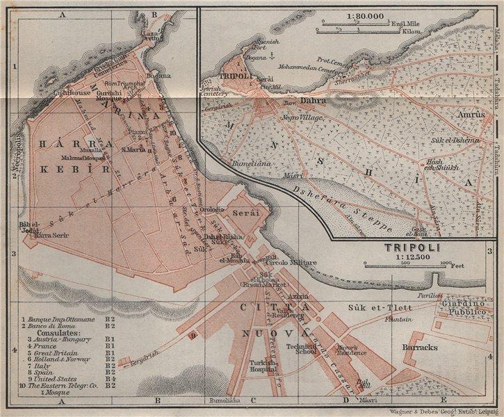 Associate Product TRIPOLI town city plan & environs. Dahra Citta Nuova Harra Kebir Libya 1911 map