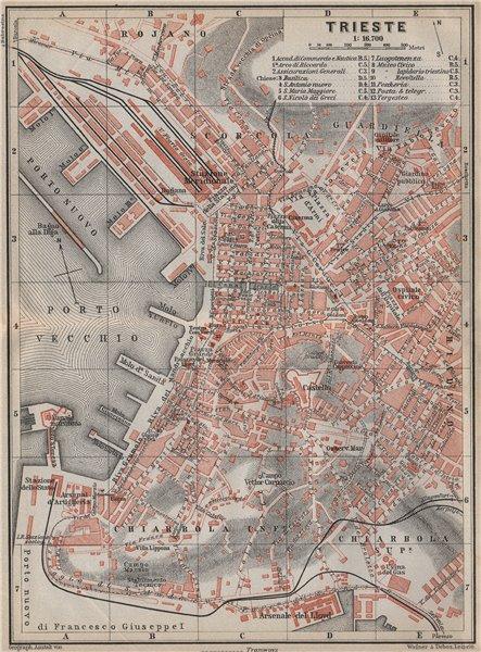Associate Product TRIESTE / TRST town city plan piano urbanistico. Italy Italia mappa 1911