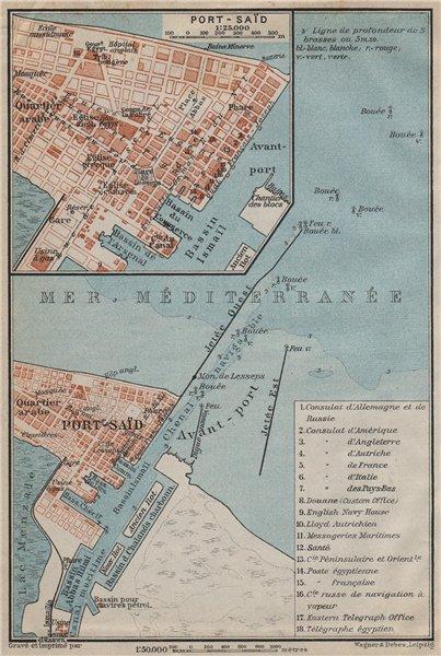 Associate Product PORT SAID. PORT-SAÏD antique town city plan. Egypt. BAEDEKER 1911 old map
