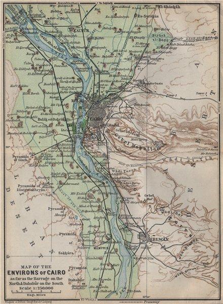 Associate Product NILE VALLEY / CAIRO ENVIRONS. Memphs Helwan. Egypt. BAEDEKER 1911 old map