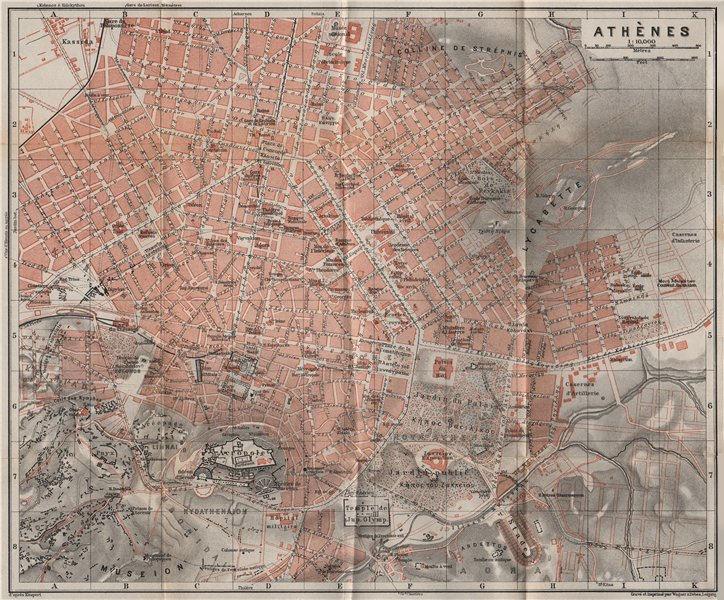 Associate Product ATHENS ATHÈNES antique town city plan. σχέδιο πόλης. Greece. BAEDEKER 1911 map