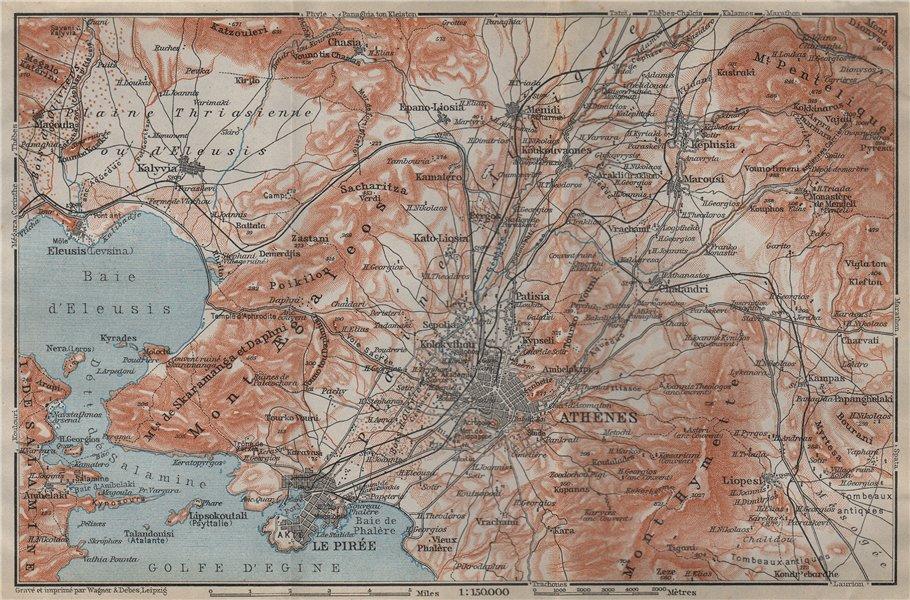 Associate Product ATHENS ENVIRONS. Piraeus Aspropyrgos Acharnes. Greece. BAEDEKER 1911 old map