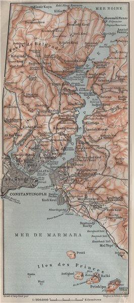 Associate Product BOSPHORUS Strait. Adalar Princes Islands Constantinpole Istanbul Turkey 1911 map