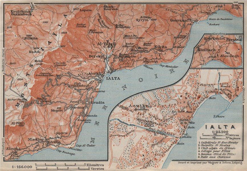 Associate Product YALTA town city plan & environs. Hurzuf Koreiz Nikita Ialta. Crimea 1911 map