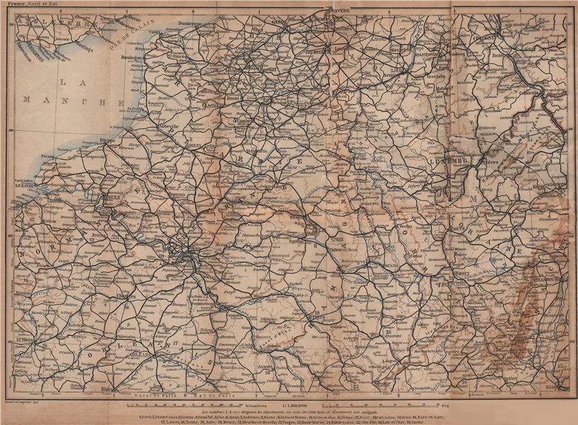 Associate Product NORTH-EASTERN FRANCE. Normandie Picardie Champagne Artois Lorraine 1899 map