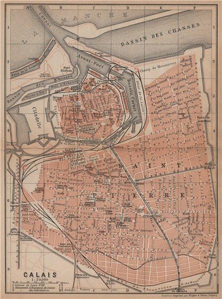 Associate Product CALAIS antique town city plan de la ville. Pas-de-Calais carte 1899 old map