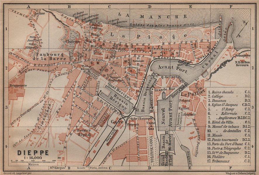 Associate Product DIEPPE antique town city plan de la ville. Seine-Maritime carte 1899 old map