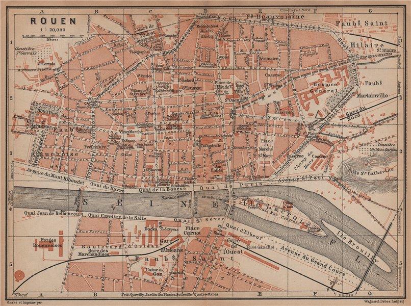 Associate Product ROUEN antique town city plan de la ville. Seine-Maritime carte 1899 old map