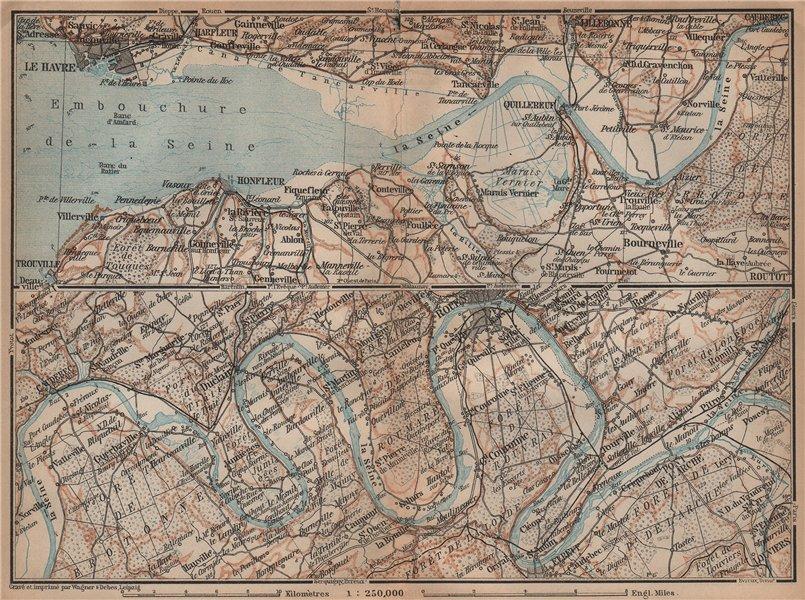 Associate Product LA SEINE. Pont de l'Arche-Rouen-Honfluer-Le Havre. Eure Seine-Maritime 1899 map