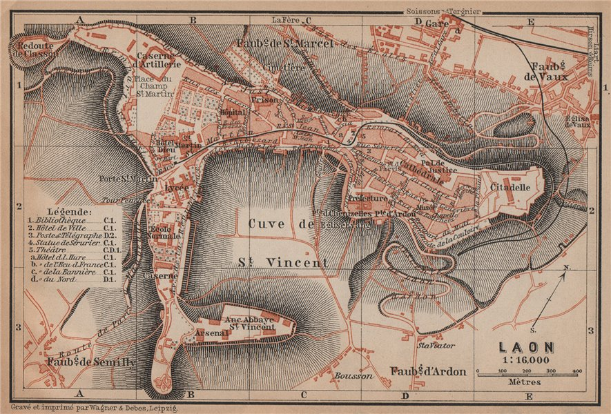 Associate Product LAON antique town city plan de la ville. Aisne carte. BAEDEKER 1899 old map
