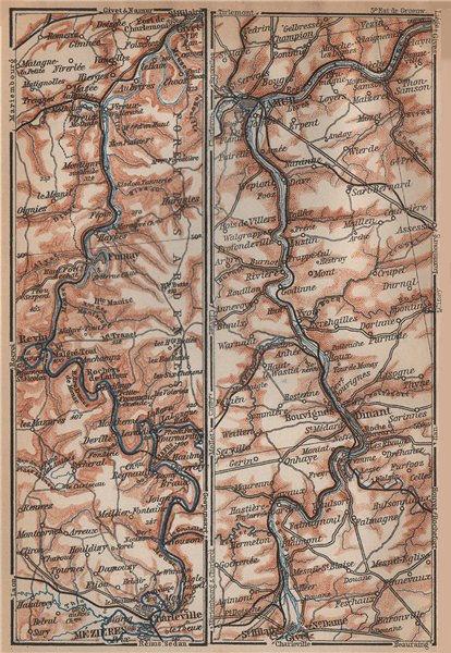 Associate Product MEUSE/MAAS river valley. Charleville-Mézières Namur Dinant carte 1899 old map