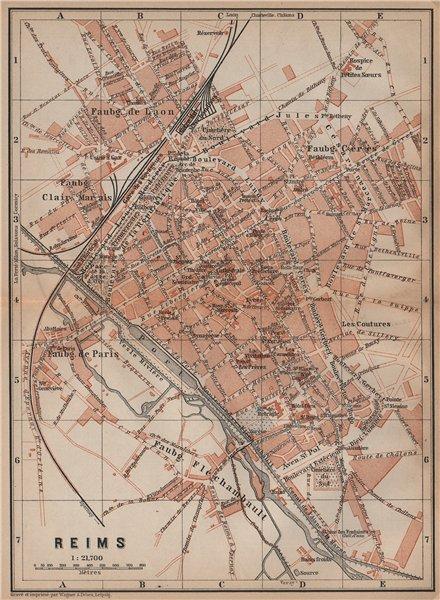 REIMS antique town city plan de la ville. Marne carte. BAEDEKER 1899 old map
