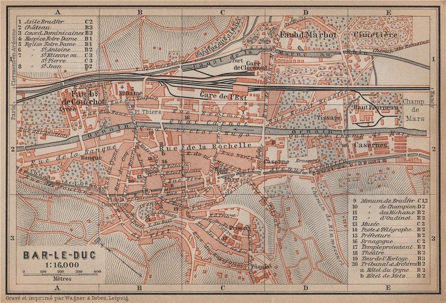 Associate Product BAR-LE-DUC antique town city plan de la ville. Meuse carte. BAEDEKER 1899 map