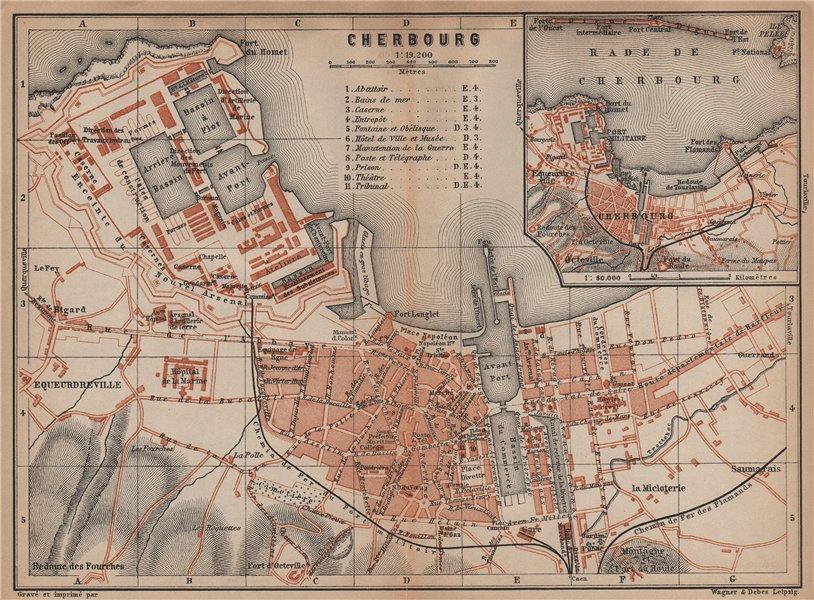 Associate Product CHERBOURG town city plan de la ville. Manche. Rade de Cherbourg carte 1899 map