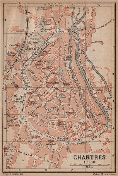 Associate Product CHARTRES antique town city plan de la ville. Eure-et-Loir carte 1899 old map