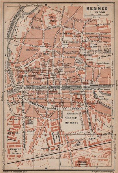 Associate Product RENNES antique town city plan de la ville. Ille-et-Vilaine carte 1899 old map