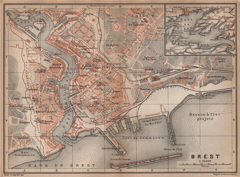 Associate Product BREST town city plan de la ville. Finistère. Rade de Brest carte 1899 old map
