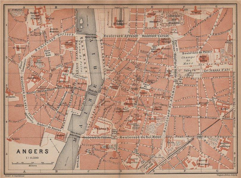 Associate Product ANGERS antique town city plan de la ville. Maine-et-Loire carte 1899 old map