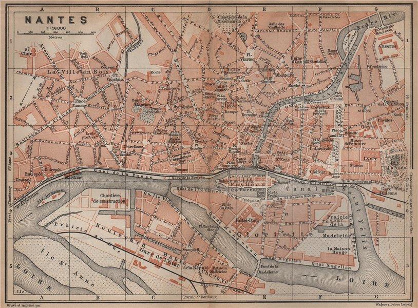 Associate Product NANTES antique town city plan de la ville. Loire-Atlantique carte 1899 old map