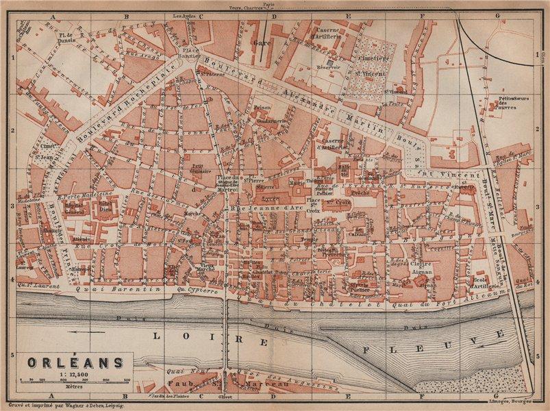 Associate Product ORLÉANS antique town city plan de la ville. Loiret. Orleans carte 1899 old map